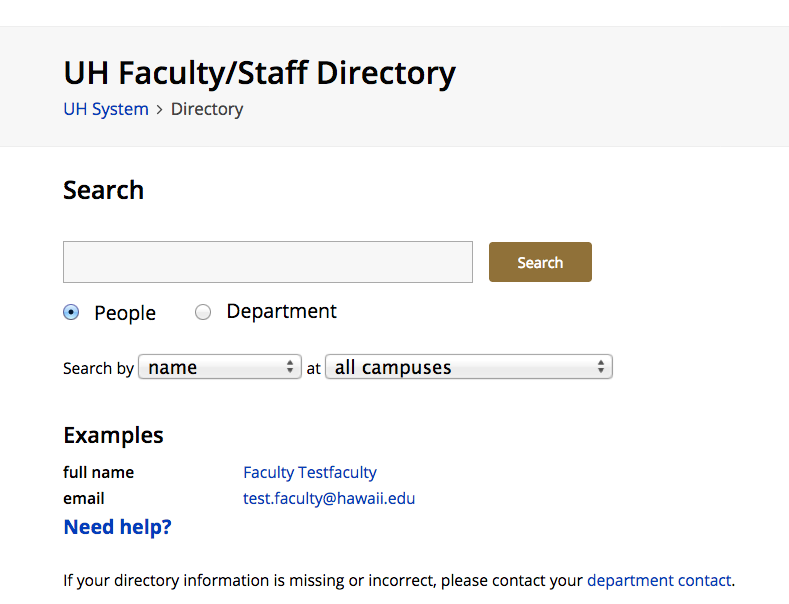 UH Faculty/Staff Directory screen cap