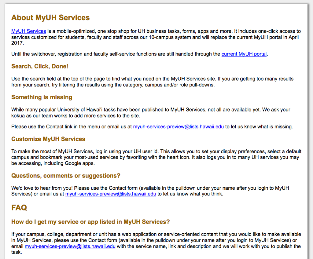 Screen cap for About MyUH Services