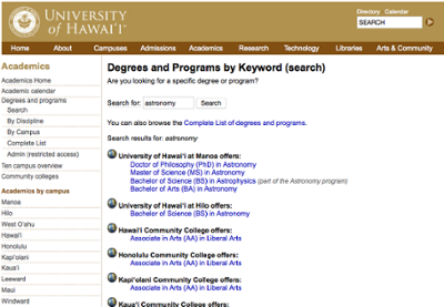 degree database search results page University of Hawaii System