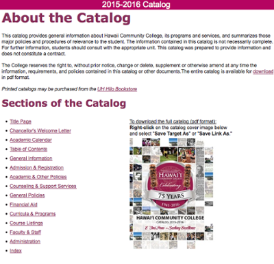 General catalog website for Hawaii Community College