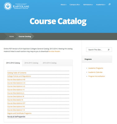 General catalog webpage at Kapiolani Community College