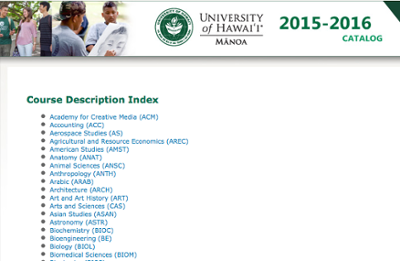 UH Manoa general catalog website