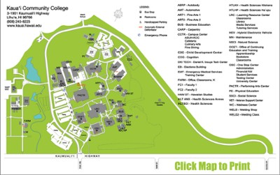 Kcc Campus Map Campus Map | Kauaʻi | MyUH Services Kcc Campus Map