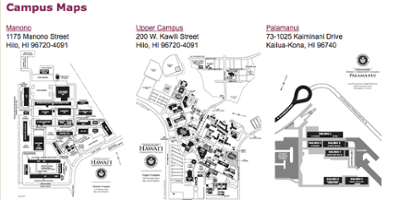 Maps for Hawaii Community College including Palamanui