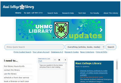 UH Maui College Library website