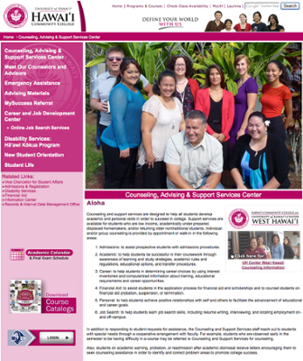 Counseling, advising & support services website at Hawaii Community College