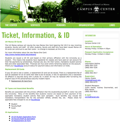 UH Manoa ID office website screenshot