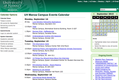 Manoa events calendar website screenshot
