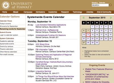 UH System events calendar website screenshot