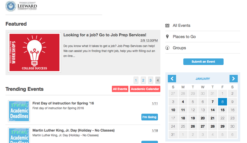 Leeward Events calendar screen shot