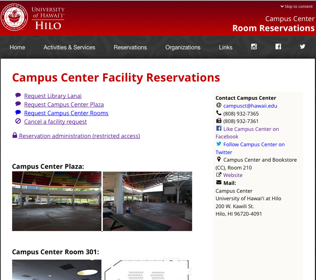 Campus Center Facility Reservations (screenshot on desktop)