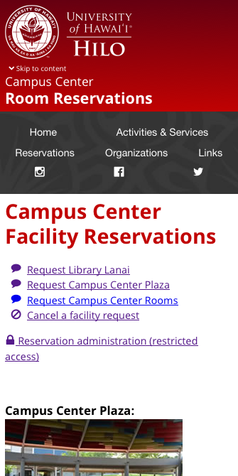 Campus Center Facility Reservations (screenshot on phone)