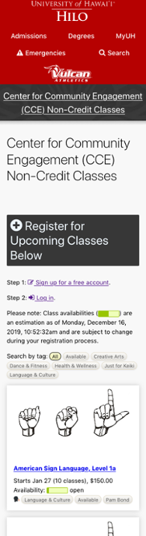 Screenshot of the CCE classes registration site