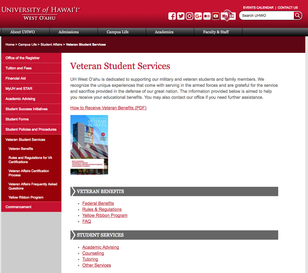 Veteran Student Services, UH West Oahu webpage