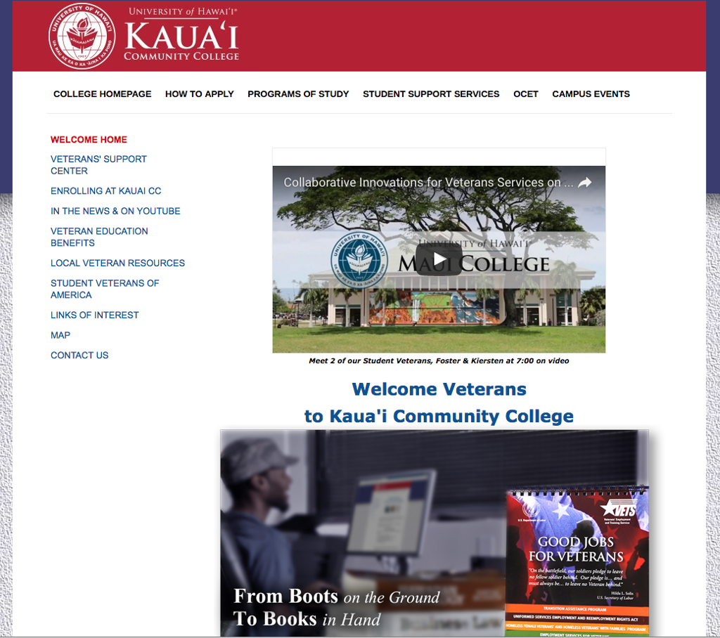 Veterans' Support Center, Kauai CC webpage