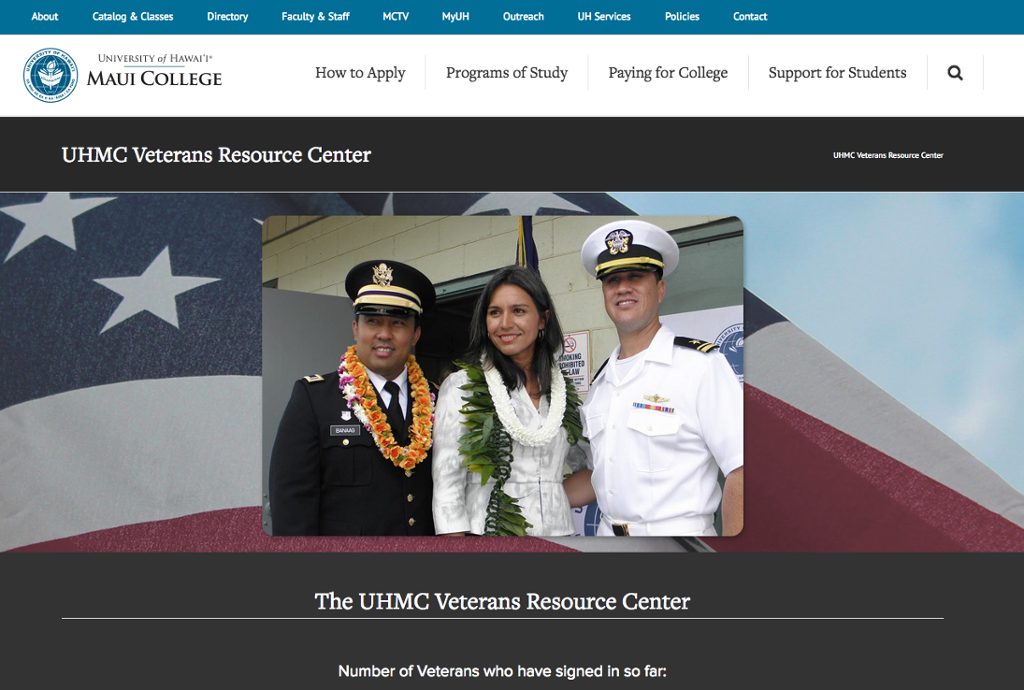 Veterans Resource Center, UH Maui College webpage
