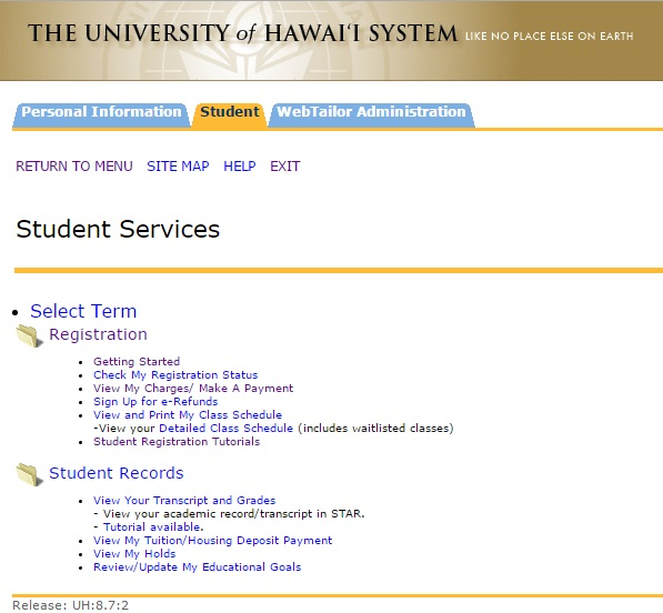 student portal menu screencap