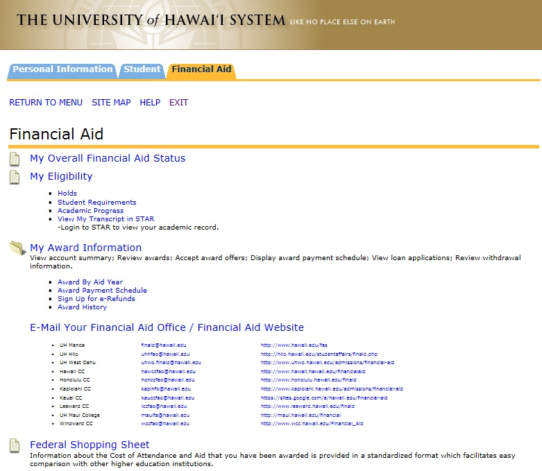 view financial aid information screencap