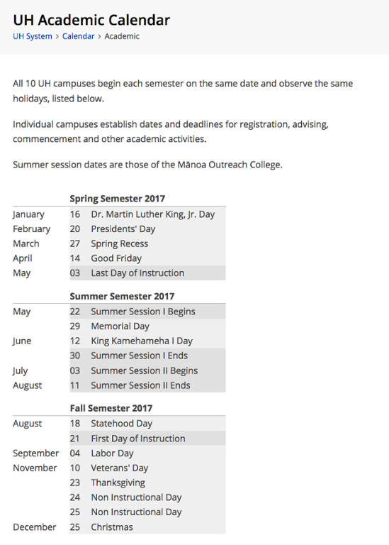 Academic Calendar | All Campuses | MyUH Services