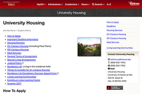 UH Hilo housing website