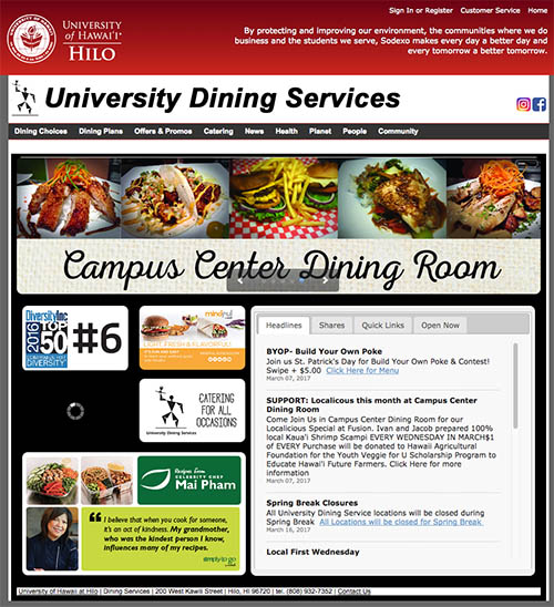 UH Hilo Dining Services website