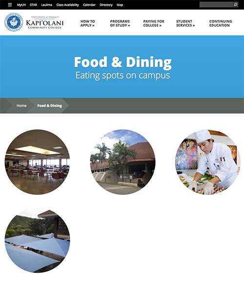 Kapiolani Community College dining services website