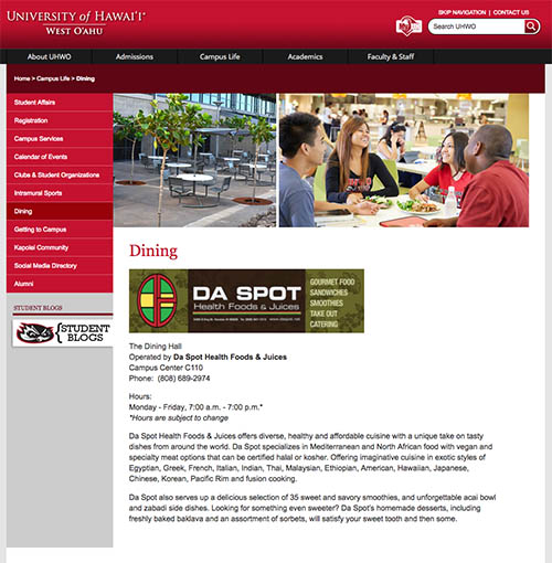 UH West Oahu dining website