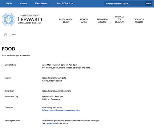 Leeward Community College food and beverage webpage