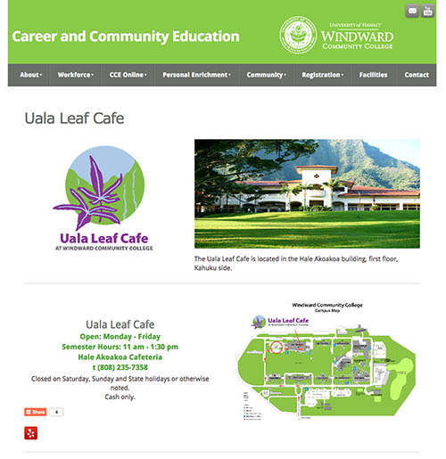 Windward Community College dining services webpage