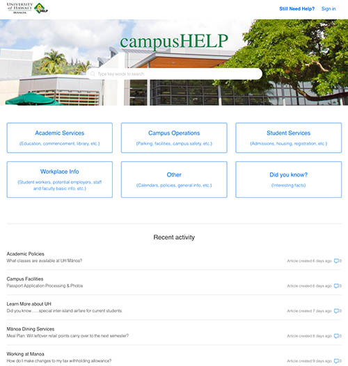 UH Manoa campusHELP website