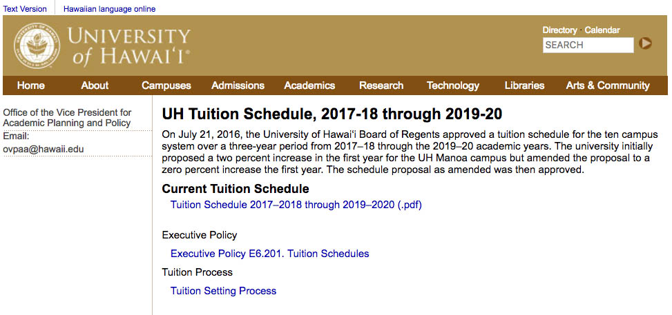 UH System tuition schedule webpage
