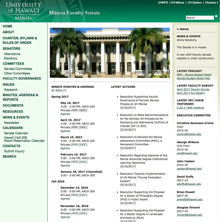 Homepage of the Manoa Faculty Senate